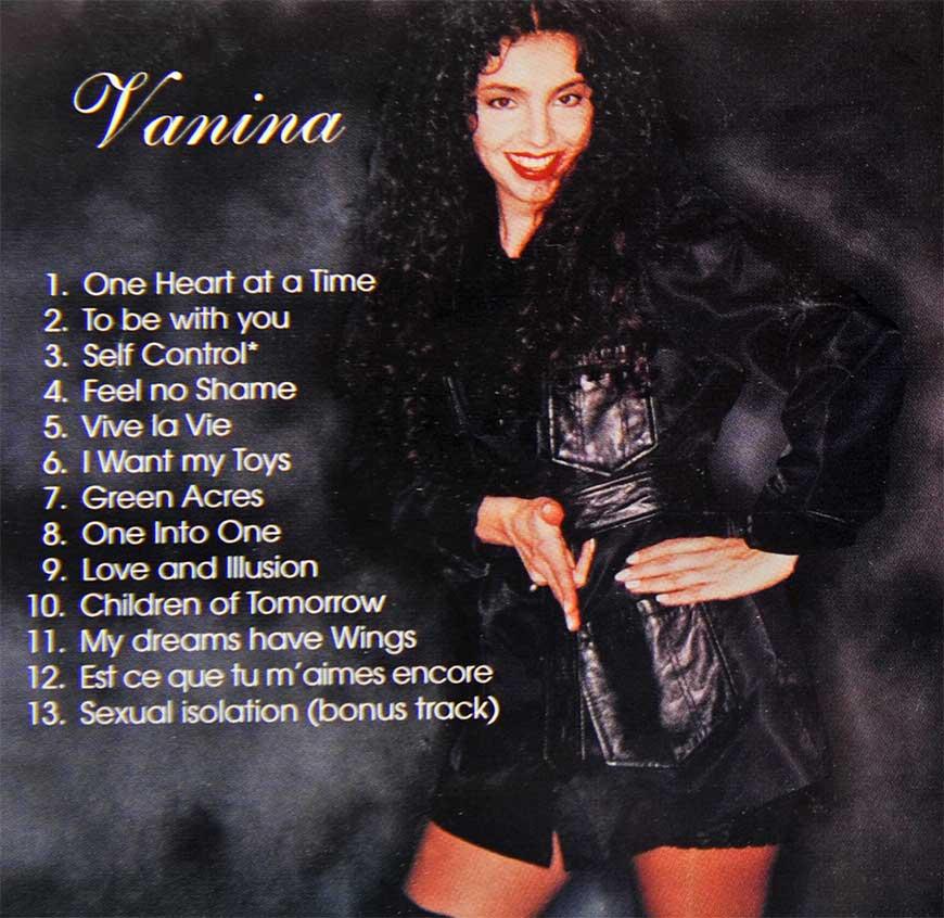 Vanina Aronica- Album VANINA, back cover with titles– Los Angeles