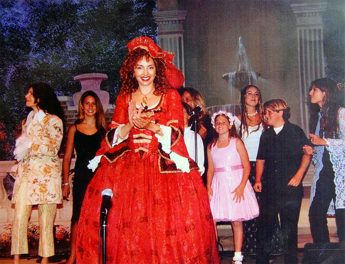 Vanina Aronica with her choir at the Venitian Ball in Beverly Hills